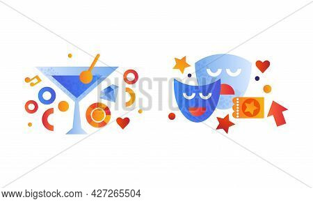 Set Of Entertainment Symbols, Comedy And Tragedy Theatrical Masks, Alcoholic Cocktail Glass Flat Vec