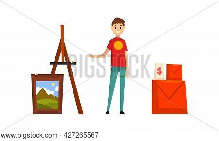 Garage Sale Concept, Man Selling Old Unnecessary Things At Flea Market Cartoon Vector Illustration