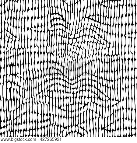 Abstract Modern Crocodile Leather Seamless Pattern. Animals Trendy Background. Black And White Decor
