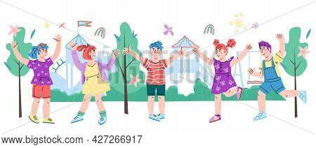 Cheerful Children On Playground Standing Smiling And Raising Hands, Flat Vector Illustration Isolate