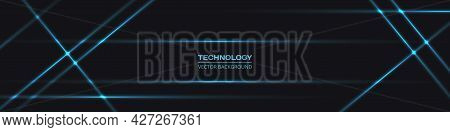 Black Wide Abstract Tech Horizontal Vector Background With Blue Neon Lines. Technology Banner With B