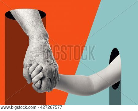 Hands. Grandmother leads her grandson. Modern design with positive context. Continuity of generations, family values, love for neighbors, help and support concept. ?ontemporary art collage