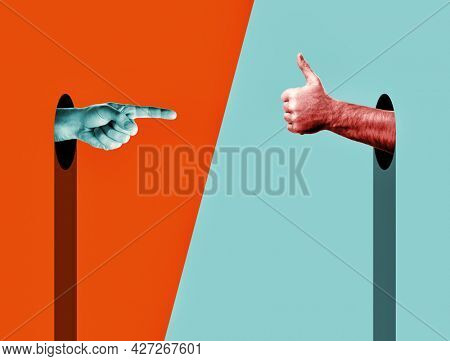 Abstract Hands over vivd color background. Index finger points on thumb up. Modern design with positive context. ?ontemporary art collage in trendy urban minimalistic magazine style.