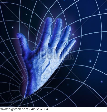 Blue male hand drowned in the Black Hole of Universe, in social media, virtual reality. Provocative modern design of Internet addiction and request for help, SOS. ?ontemporary art trendy collage