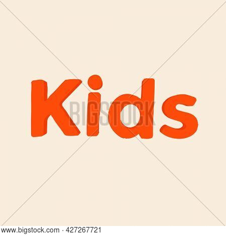 Kids word in clay-like text style