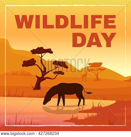 Wild Fauna Protection Social Media Post Mockup. Wildlife Day Phrase. Web Banner Design Template. Rai