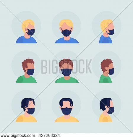 Virus Protection Semi Flat Color Vector Character Avatar With Mask Set. Portrait With Respirator Fro