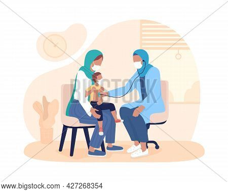 Child Checkup With Parent 2d Vector Isolated Illustration. Listen Breathing Using Stethoscope Flat C