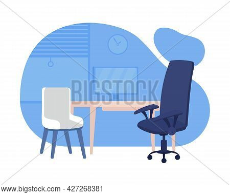 Counselling Room In School 2d Vector Isolated Illustration. Chairs And Computer Table Flat Objects O