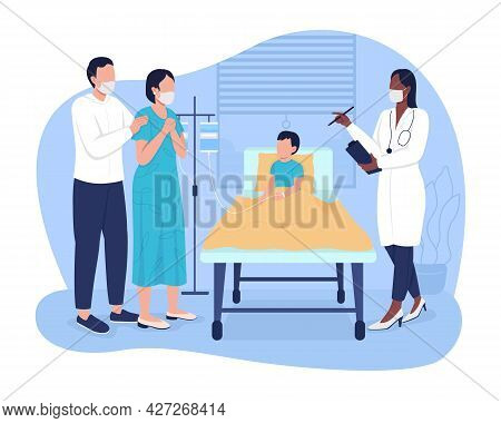 Kid In Emergency Room 2d Vector Isolated Illustration. Pediatrician Explaining Parents About Child H