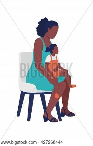 Mother With Little Daughter On Knee Semi Flat Color Vector Characters. Full Body People On White. Pa