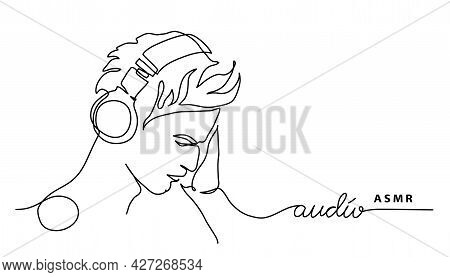 Man, Guy In Headphones Simple Vector Banner, Poster, Background. Asmr Concept. One Continuous Line D