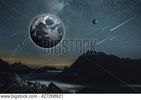 Aesthetic universe nature background earth and mountain remixed media