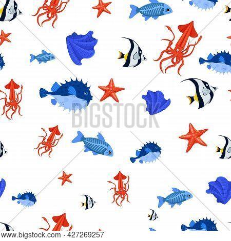 Marine Life Seamless Pattern. Starfish, Shell, Squid, Pufferfish.