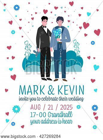 Unconventional Wedding Invitation. Gay, Bisexual And Transgender People Marriage.