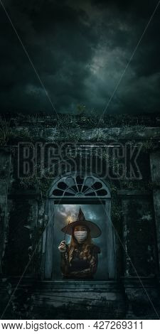 Halloween Witch Wearing Medical Face Mask Holding Magic Wand Standing Over Ancient Castle Window, Fu