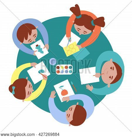 Top View Of Drawing Children At The Table. Creative Classes In Kindergarten At School Or Camp. Boys