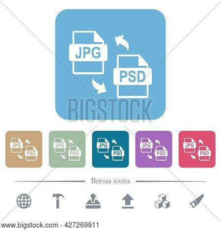 Jpg Psd File Conversion White Flat Icons On Color Rounded Square Backgrounds. 6 Bonus Icons Included