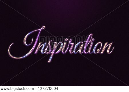 Inspiration word in colorful embossed chrome style