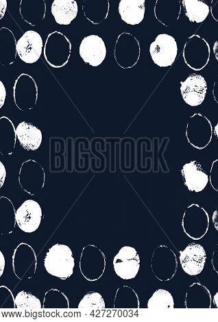 White block print frame on indigo background