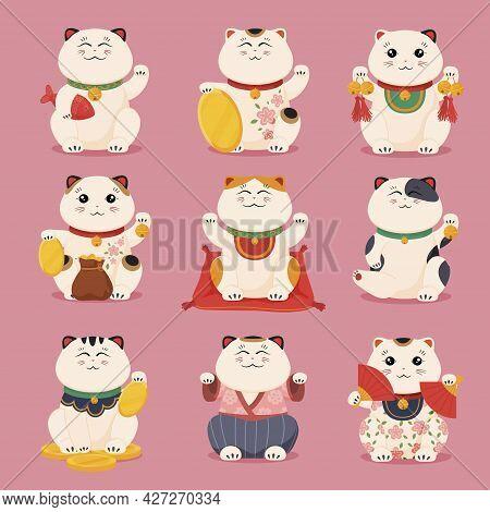 Collection Japanese Lucky Cat Vector Flat Illustration. Set Of Funny Feline Characters Maneki Neko