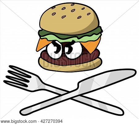 Angry Hamburger, Cartoon Color Vector Illustration, Horizontal, Over White, Isolated