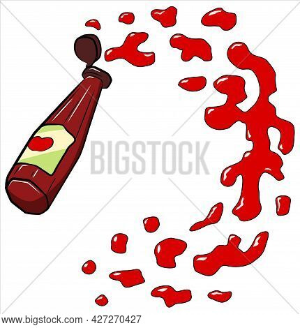 Ketchup Bottle Splash, Cartoon Color Vector Illustration, Horizontal, Over White, Isolated