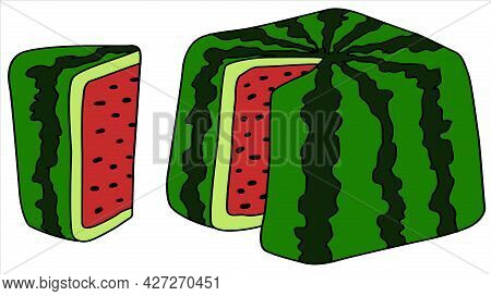 Square Watermelon With Slice, Cartoon Color Vector Illustration, Horizontal, Over White, Isolated