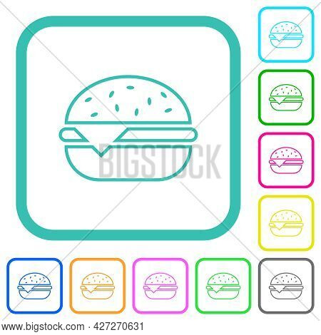 Single Cheeseburger Vivid Colored Flat Icons In Curved Borders On White Background