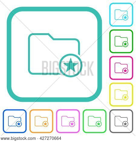 Mark Directory Outline Vivid Colored Flat Icons In Curved Borders On White Background