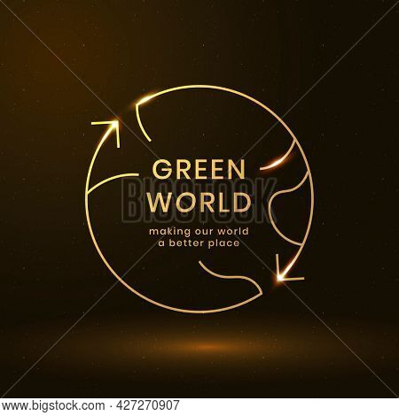 Global environmental logo with green world text