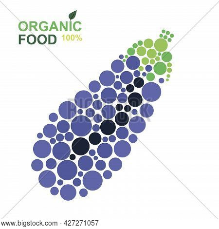 Organic Food Eggplant Made From Dots On A White Background. Natural Product
