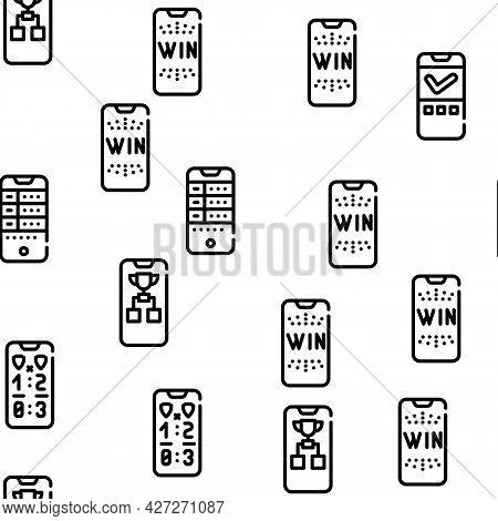 Betting On Gambling Vector Seamless Pattern Thin Line Illustration