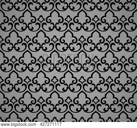 Flower Geometric Pattern. Seamless Vector Background. Black And Gray Ornament