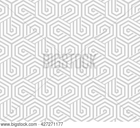 Abstract Geometric Pattern With Stripes, Lines. Seamless Vector Background. White And Gray Ornament.