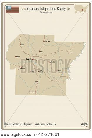 Map On An Old Playing Card Of Independence County In Arkansas, Usa.