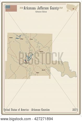 Map On An Old Playing Card Of Jefferson County In Arkansas, Usa.