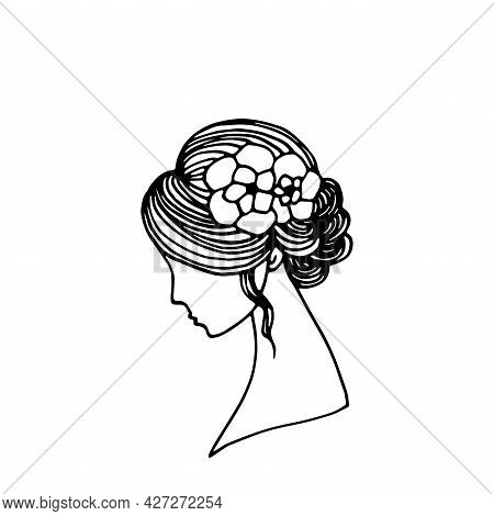 Beautiful Woman With Flower. Lady Doodle Simple Illustration. Abstract Fashion Retro Stylish Girl Po
