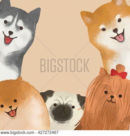 Cute dog border frame on beige background