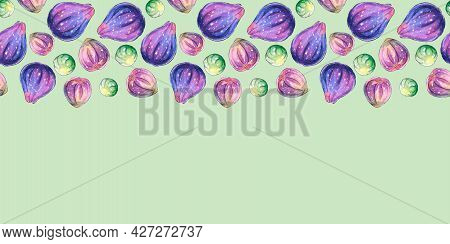 Background With Space And Border Of Watercolor Figs On Upper Edge. Hand Drawn Bright Decoration, Ima