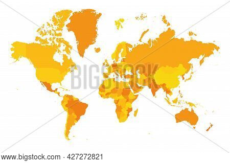 Map Of World. Mercator Projection. High Detailed Political Map Of Countries And Dependent Territorie