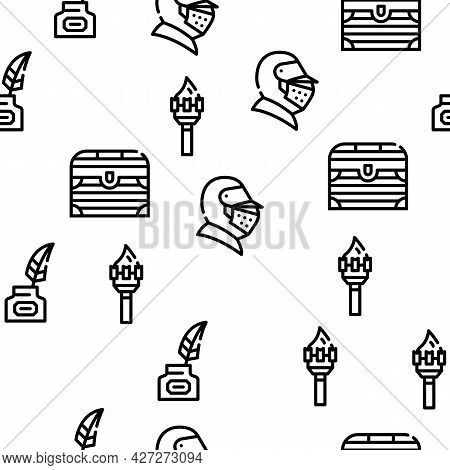 Medieval Middle Age Vector Seamless Pattern Thin Line Illustration