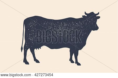 Cow Silhouette. Black And White Isolated Cow Silhouette. Vintage Retro Print Cow Silhouette For Meat