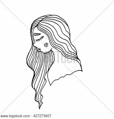 Beautiful Girl With Long Wavy Hair Isolated On White. Beauty Salon Icon. Abstract Lines Hair. Vector