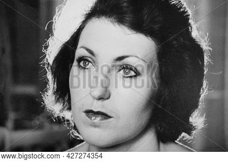Vintage Black And White Portrait Of A Woman, Close-up . Early 1980s. Old Surface, Soft Focus. Transf