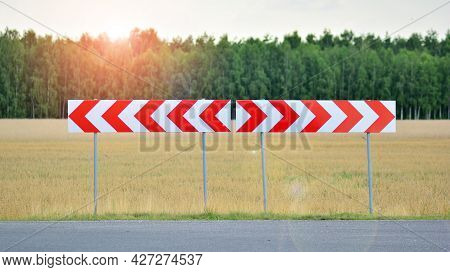 Road Block Barricade Sign Stripes White And Red