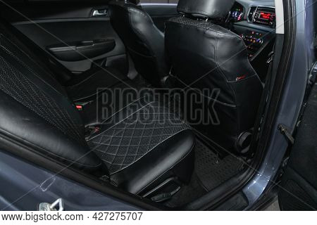 Novosibirsk, Russia - July 07, 2021:   Kia Sportage, Comfort Car Inside. Clean Car Interior: Black B