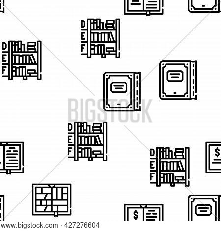 Book Library Shop Vector Seamless Pattern Thin Line Illustration