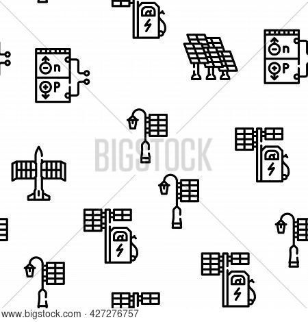 Photovoltaic Energy Vector Seamless Pattern Thin Line Illustration