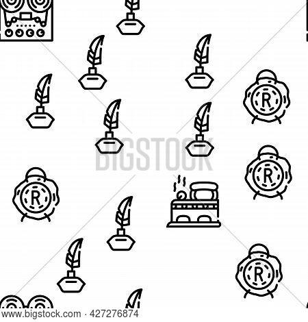 Retro Stuff Devices Vector Seamless Pattern Thin Line Illustration